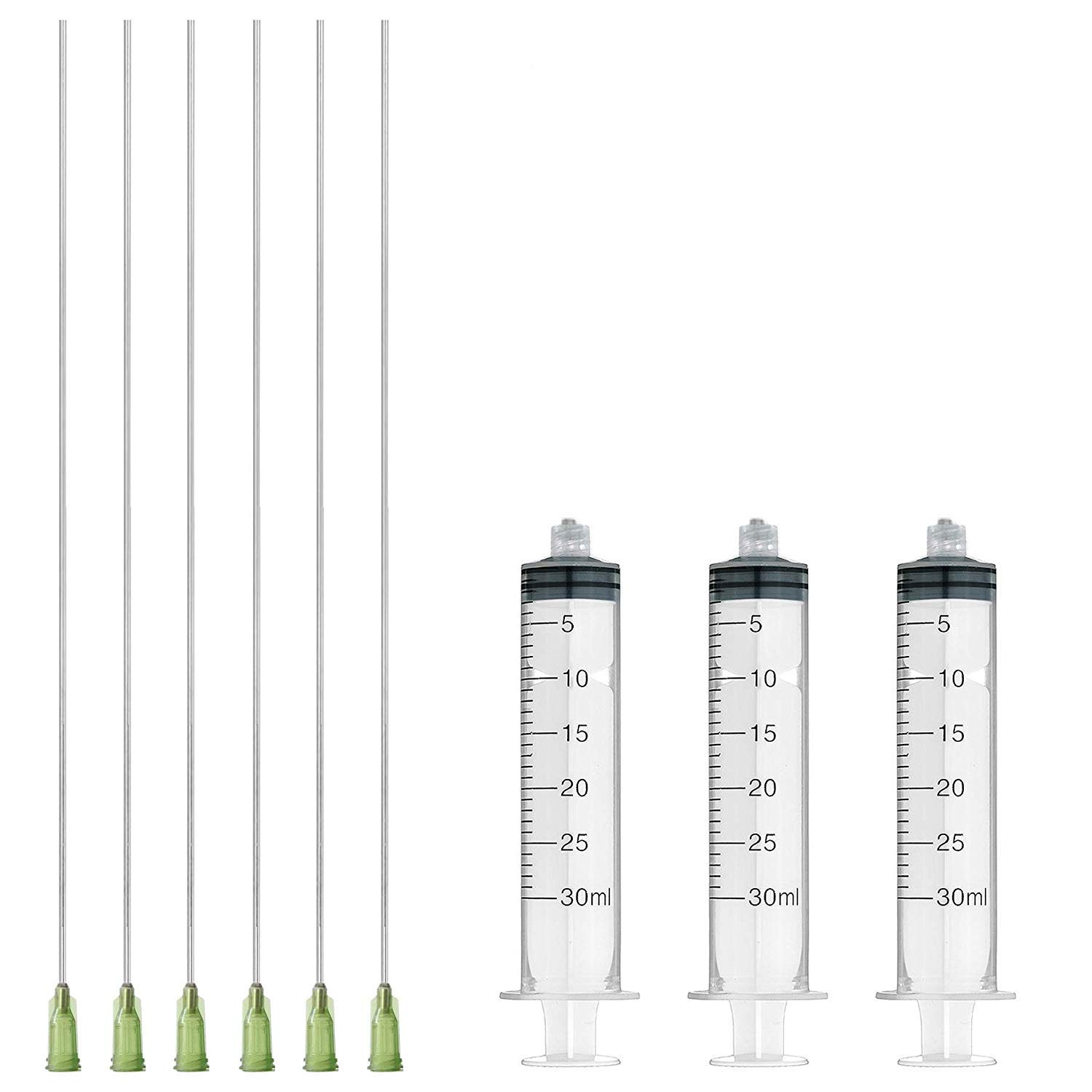 "Rachel's Closeouts 6 Pcs Dispensing Needle 14G x 10"" with 3 Pcs 30ml Syringe - Blunt Tip Luer Lock 10-inches Super Long Needles"