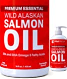 SALMON OIL FOR DOGS, CATS & HORSES, Fish Oil Omega 3 Food Supplement for Pets, Wild Alaskan 100% All Natural, Helps Dry Skin & Allergies, Promotes Healthy Coat & Joints, Helps Inflammation, 16 oz