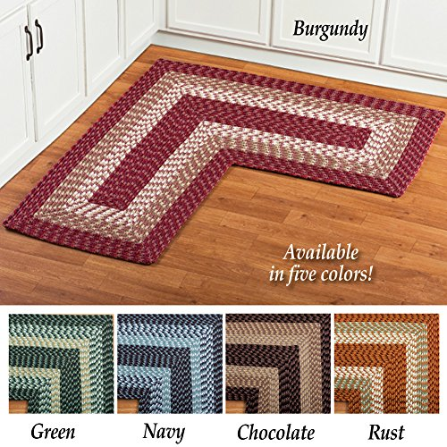 Collections Etc L Shaped Corner Kitchen Laundry Bath Braided Rug Chocolate Pricepulse