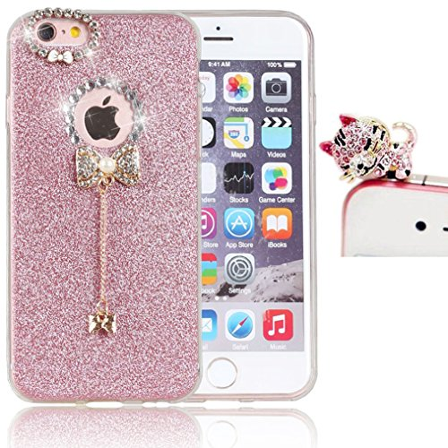 iPhone 6S Plus/ 6 Plus Phone Case,Vandot Premium Diamond Bling Shinning Soft TPU Rubber Gel Case Cover Ultra Slim Thin Perfect Fit [Shock-Absorption] Protective Pattern With Sparkly Bow Pendent For Apple iPhone 6S Plus/ 6 Plus 5.5 Inch+Glitter Cat Anti Dust Plug -Pink