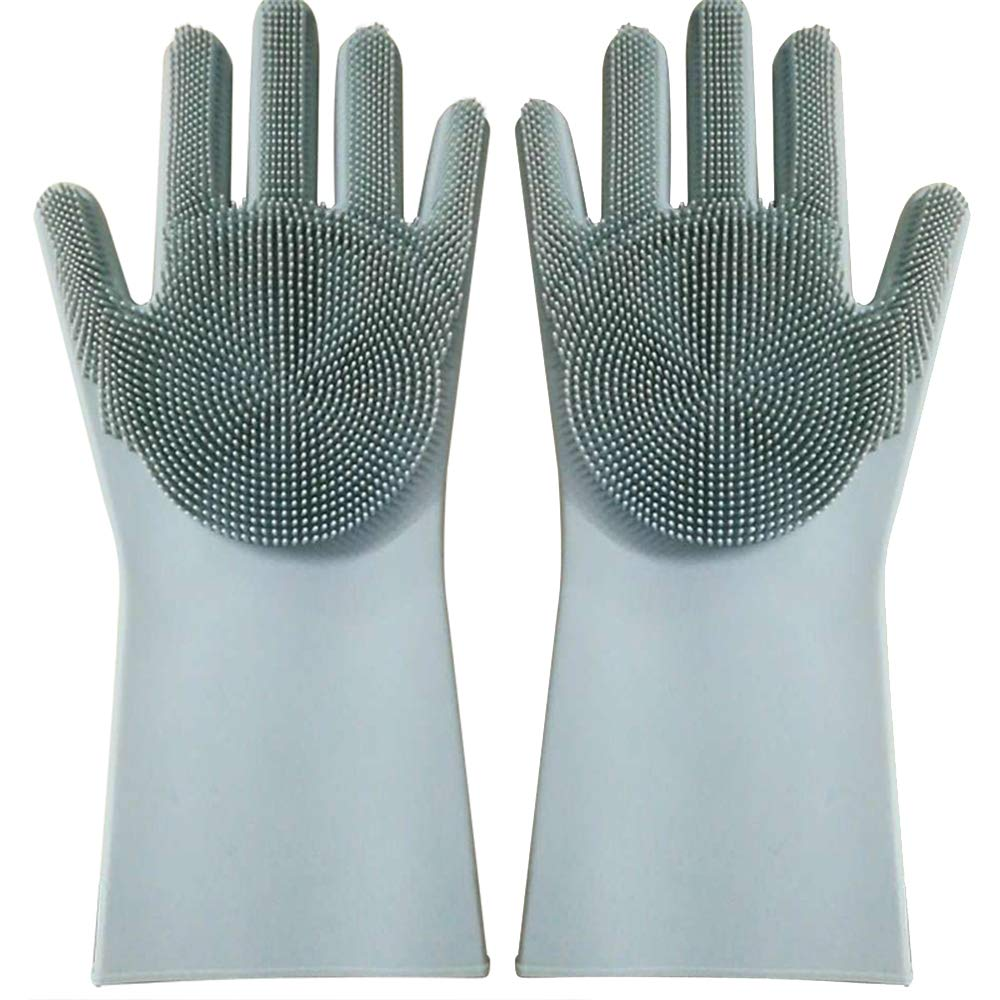 Yhosue マジックシリコンディッシュウォッシュグローブ 食品グレードキッチンクリーニング手袋 柔らかい手袋 2個セット 多機能家庭用ブラシ 5.71x9.65 Inches B07HG8VRH5 グレーグリーン