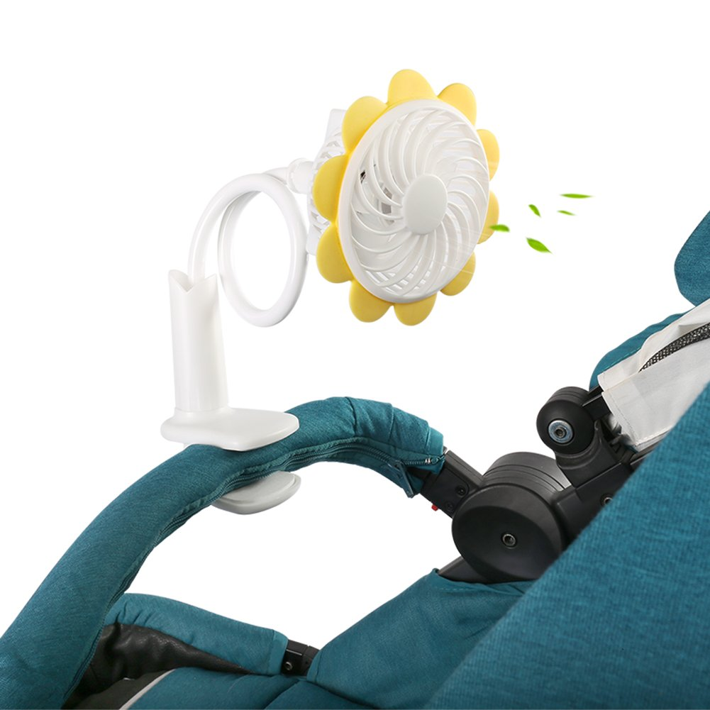Samber Baby Stroller USB Mini Fan Rechargeable Baby Stroller Bendable Fan