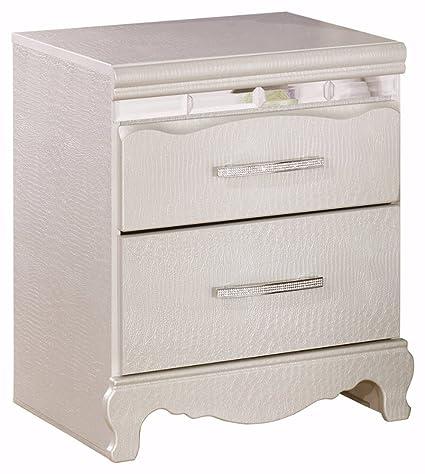 Bon Ashley Furniture Signature Design   Zarollina Nightstand   2 Drawers   Faux  Crystal Accent Handles
