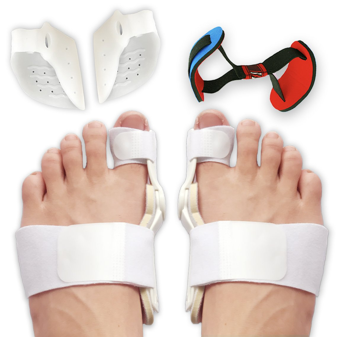 Bunion Corrector and Bunion Splint Care Kit for Bunion Relief, Hallux Valgus Corrector, Big Toe Straightener Brace, Big Toe Joint Protector, Bunion Pads Toe Separators Spacers Surgery Aid Night by Flyen