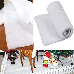 Christmas Snow Cover Blankets-Soft Fluffy Thick White Cotton Blanket Artificial Fake Holiday Winter Decor for Christmas Tree Skirt Table Runner Village Displays Scene Drapes Crafts 1.51m