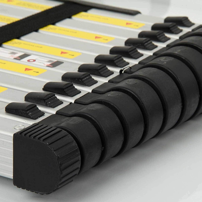 Yiya 12.5ft//3.8m Aluminum Telescoping Ladder 12-Step Portable Extension Ladder 330LBS Capacity Anti-Slip Loaded Locking Ladder