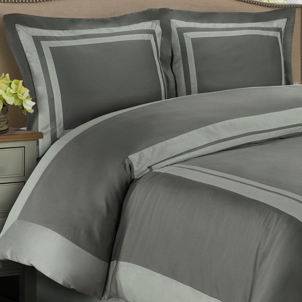 Duvet Cover Set and Pillowcase Twin/XL Twin Size 100 Egyptian Cotton Luxury Soft Modern Reversible Bedding Trim Pattern Silver Grey Design with 4 Corner Ties
