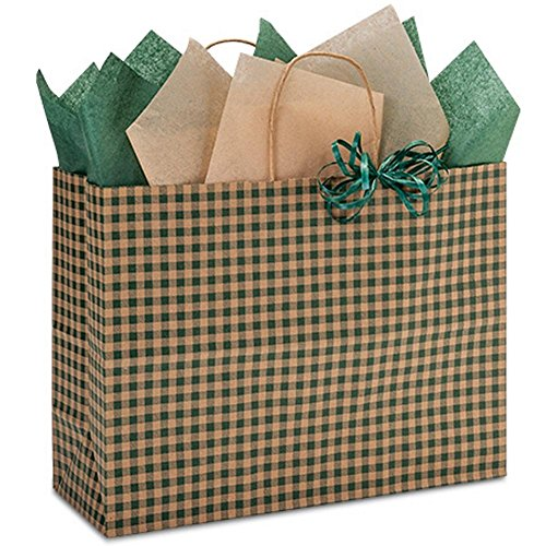 Hunter Gingham Paper Shopping Bags - Vogue Size - 16 x 6 x 12in. - 100 Pack by NW