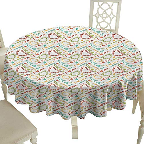 I Love You Easy Care Leakproof and Durable Tablecloth Colorful Romantic Scribble Heart Figures Butterflies Abstract Childish Design Outdoor Picnic D51.18 Inch Multicolor