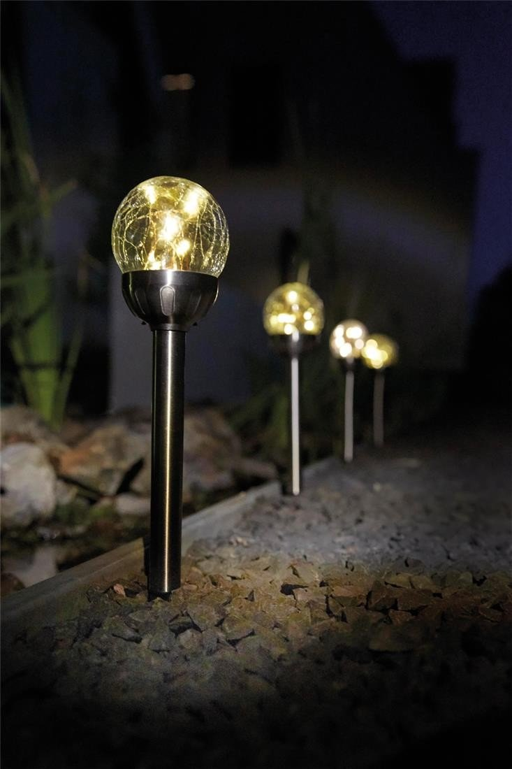 5 x Luxform Bolero Solar LED Outdoor Garden Spike Post Light Lamp Crackle Glass LF0149