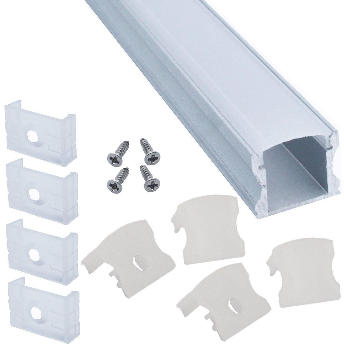 Litever 6-Pack Aluminum Channels Deep Square Trimless 1 Meter/3.3 FT Aluminum Channel for 12mm Width 5050 5730 2835 LED Strip Mounting Frosted Diffuser with End Caps Mounting Clips LL-007-A-(6-Pack) by Litever