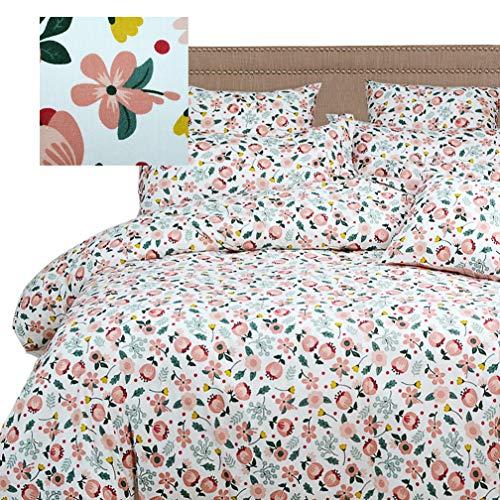 - Brandream Blush Bedding Set Twin Size Girls Country Floral Bedding 100% Cotton White Blush Spring Flowers Printing Reversible Duvet Cover Set Zipper Closure (1 Duvet Cover + 2 Pillow Shams)