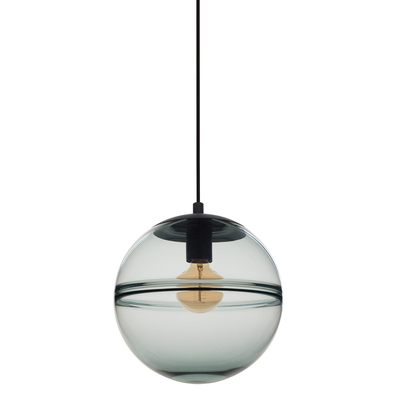 CASAMOTION Unique Optic Contemporary Hand Blown Glass Pendant Light, Ceiling Hanging Lighting Fixtures, Light Grey Blue