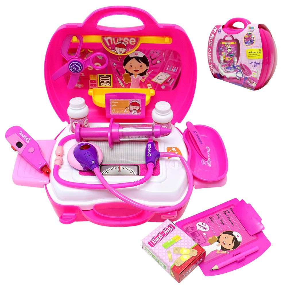 VCOSTORE Kids Doctor Nurse Kits with Carrying Case, 28 Pcs Pretend & Play Medical Playset for Kids with Battey Operated Light&Sound Tools - Great for Boys Girls, Roleplay Skill