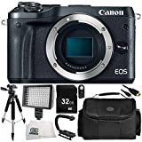 Canon EOS M6 Mirrorless Digital Camera (Body Only, Black) 9PC Accessory Bundle – Includes 32GB SD Memory Card + MORE - International Version (No Warranty)