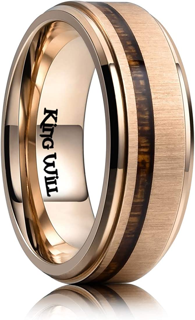 King Will Nature Titanium 8mm Rose Tone Plated Wedding Band Ring Real Koa Wood Comfort Fit