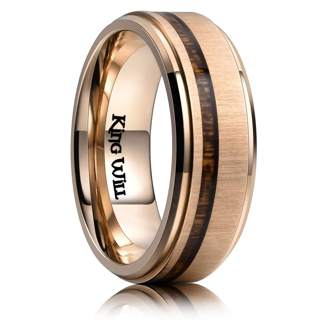 VAKKI 8mm Mens Black Matte Finish Wedding Band Polished Beveled Edge Tungsten Carbide Rings Comfort Fit Size 6-14