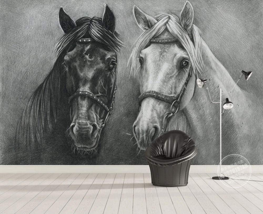 Horse Wall Mural Black and White Photo Wallpaper Living Room Bedroom Home Decor