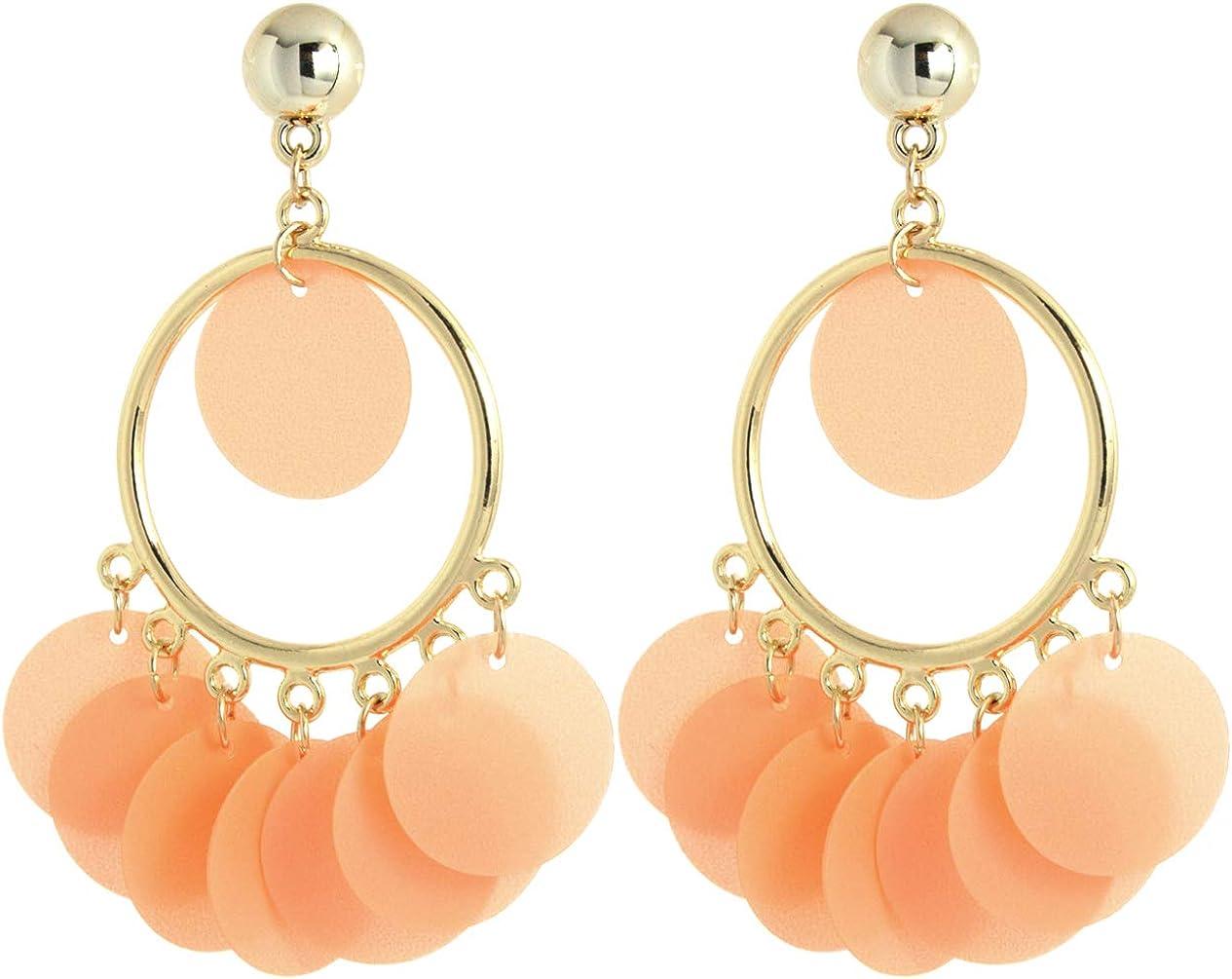 2LIVEfor Pendientes largos colgantes, pendientes naranjas, dorados, rosas, étnicos, adornados en forma de gota, bohemios, vintage, anillos, pendientes con lentejuelas, orientales, redondos