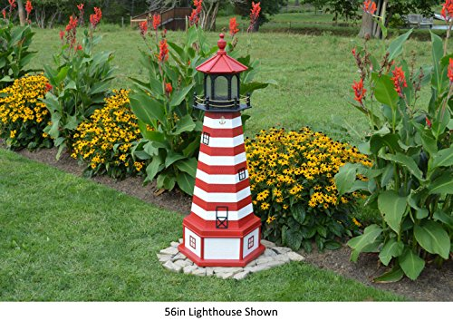 Amish-Made West Quoddy, ME Replica Lighthouse with Base, 44'' Tall by Backyard Crafts