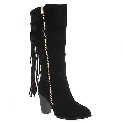 a7763867684 V-Luxury Womens 35-KUFINA1 Closed Round Toe Knee High Chunky Heel Fringe  Boot