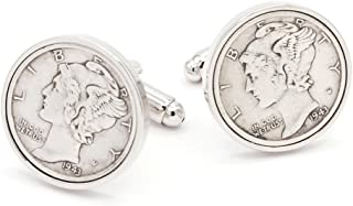 product image for JJ Weston Mercury Dime Coin Cufflinks. Made in The USA.