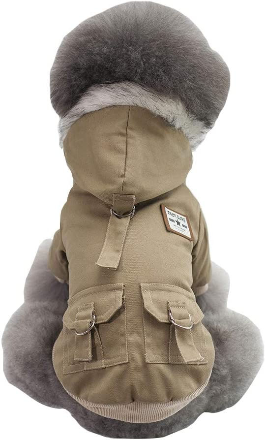 Grey,M Dog Military Uniform Thickened Dog Overall Cotton Jacket Fur Coat for Small Dog /& Medium Dog /& Cat Dog Hoodies,Rdc Pet Work Clothes Army Hoodie Sweater