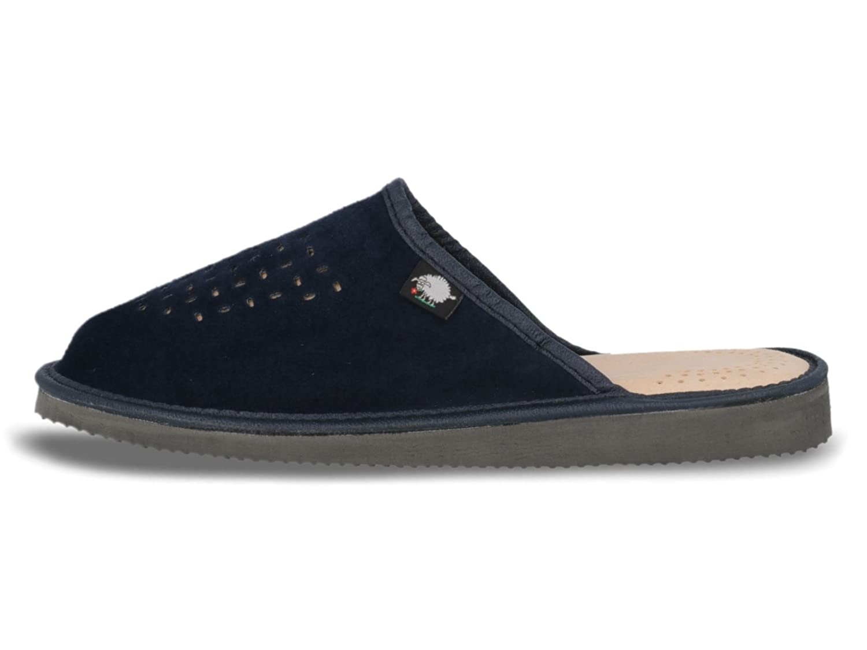 The Slipper Company Pantufla Sin Talón, Efecto mota, Azul Marino, Para Mujer - Talla 8 UK/42 EU - Azul