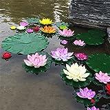 10pcs / lot Real Touch artificielle Fleur de Lotus en mousse Fleurs de Lotus Nénuphar piscine flottante Plantes de mariage Décoration de jardin