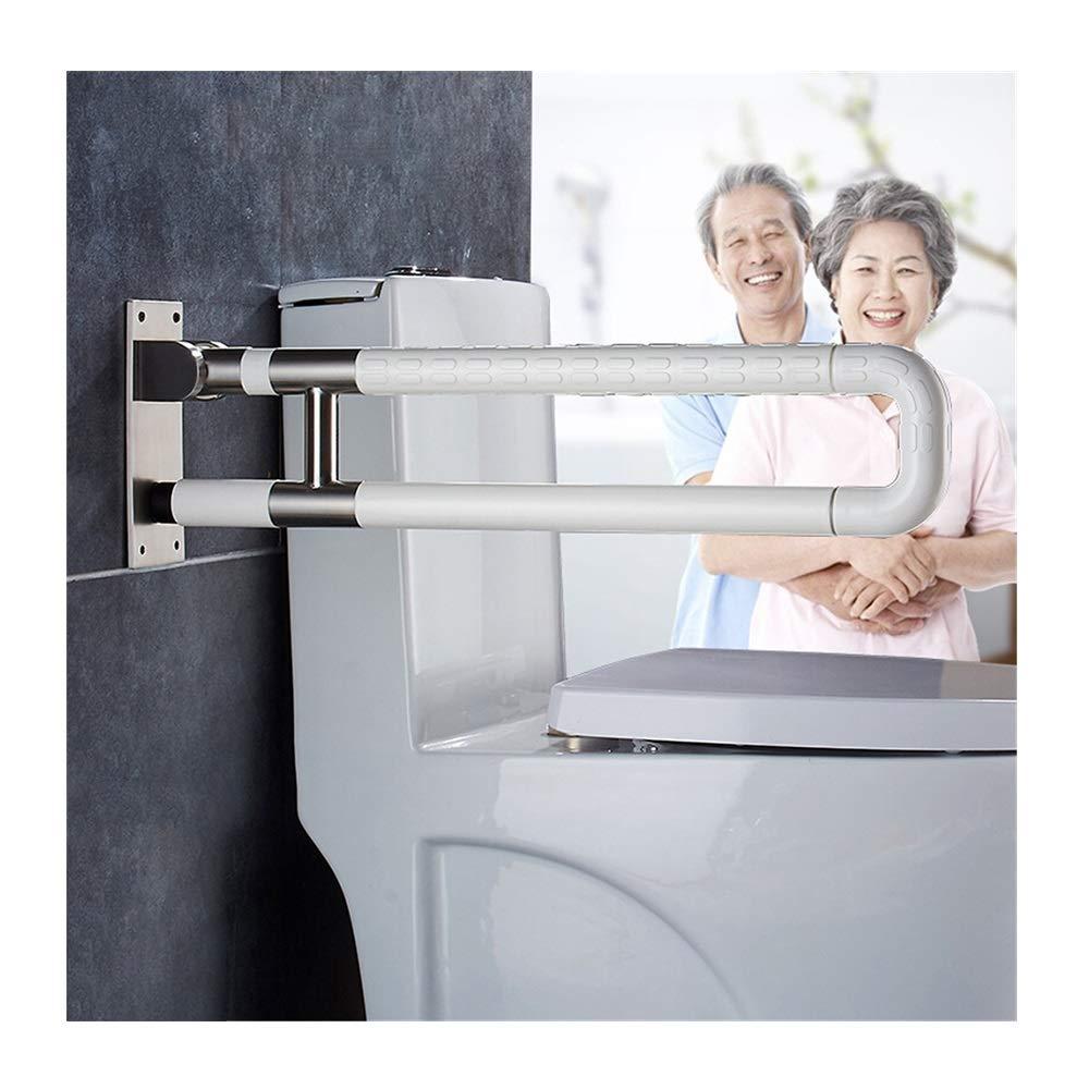 GYM Corrimano per Bagno Accessibile a Forma di U in Acciaio Inox Manico in Nylon Bagno WC Toilette Pieghevole Anziani Corrimano Antiscivolo di Sicurezza (Colore   giallo, Dimensione   75CM)
