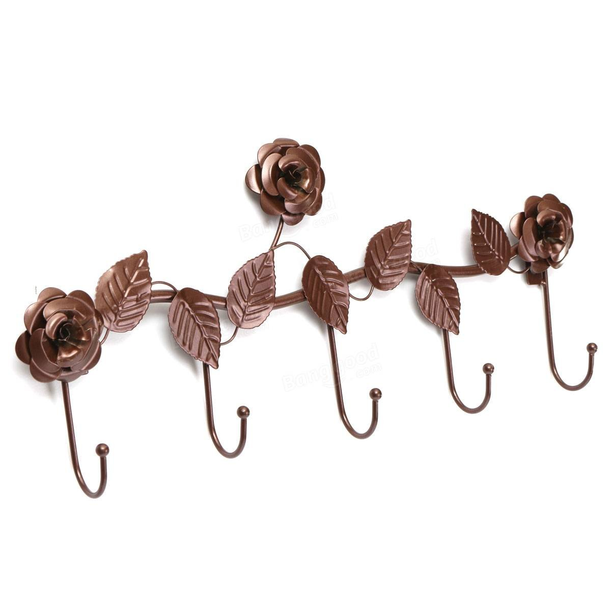 Bathroom Storage & Organisation Robe Hooks - 5 Hooks Wall Hanger Bathroom Flowers Leaves Metal Door Hook Clothes Towel Rack - Bronze -1x Wall hangerDetails pictures: