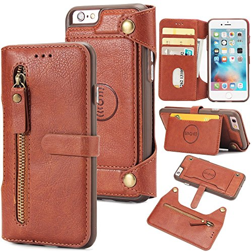 (iPhone 6 iPhone 6s 4.7 inch Case, Happon iPhone 6 iPhone 6s 4.7 inch Leather Wallet Case Book Design with Flip Cover and Stand [Credit Card Slot] Cover Case for iPhone 6 iPhone 6s 4.7 inch - Brown)