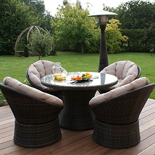 Maze Rattan Outdoor Garden Furniture 4 Seat Brown Swivel Chair