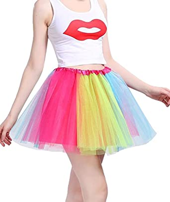 Imixcity Women 3 Layers Tutu Skirt Candy Color Petticoats Ballet Fancy Dress Party Dancewear Fairy