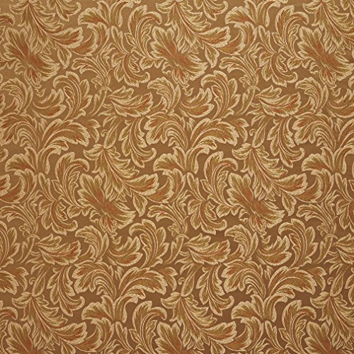 Pecan Beige and Brown Classic Acanthus Foliage Damask Upholstery Fabric by the yard