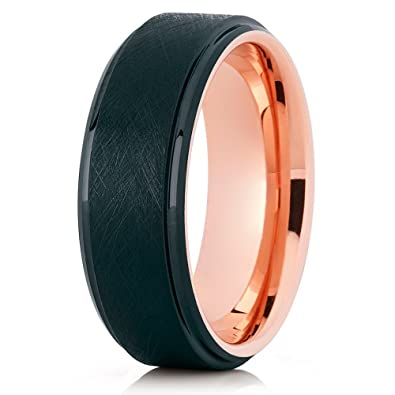 Silly Kings 8mm Olivit Brushed Tungsten Carbide Wedding Ring Rose