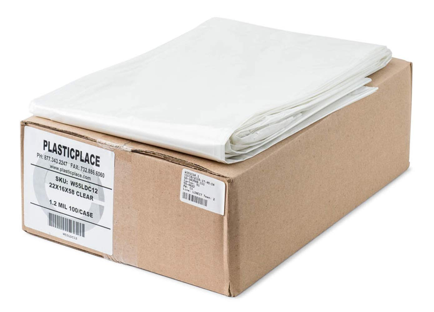 Plasticplace 55-60 Gallon Trash Bags │ 1.2 Mil │ Clear Heavy Duty Garbage Can Liners │ 38'' x 58'' (100Count)