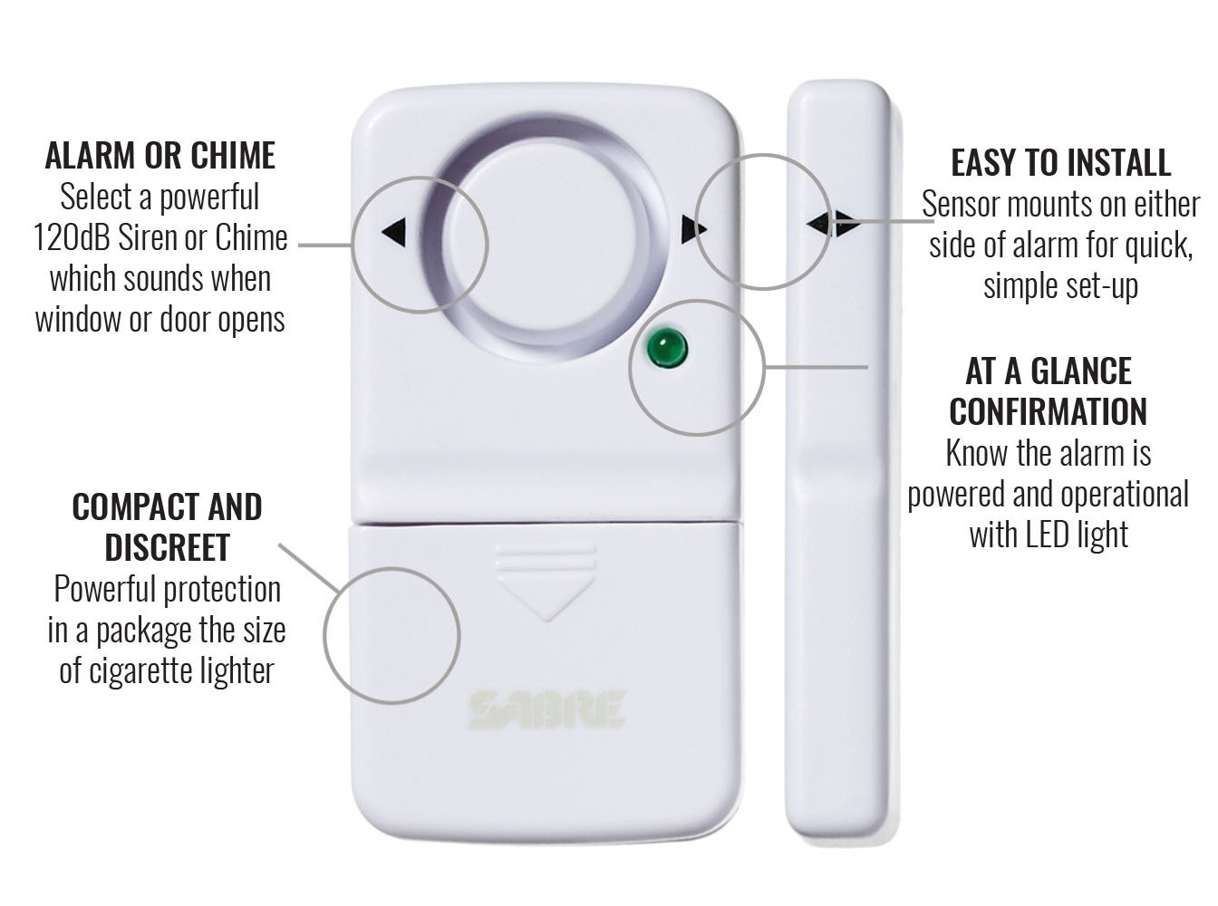 Sabre Wireless Home Security Door Window Burglar Alarm Wiring Diagram Of O General Ac With Loud 120 Db Siren Diy Easy To Install Improvement