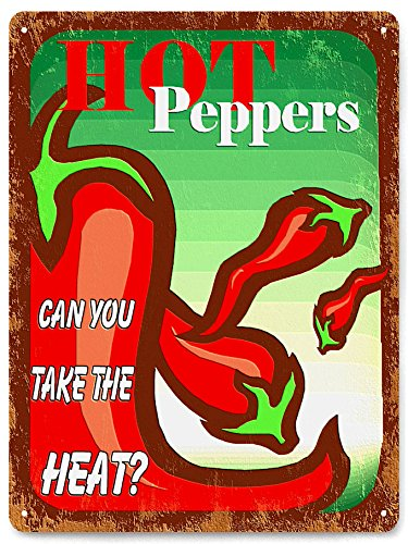 Hot Peppers METAL SIGN Caliente Mexican food hot sauce