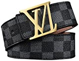 HoiSam Luxury Designer Checker style Belt for woman man unisex (105CM [Waist Below 30''], GoldV.Black)