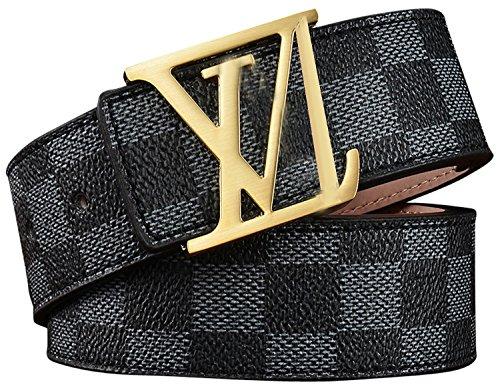 HoiSam Luxury Designer Checker style Belt for woman man unisex (105CM [Waist Below 30''], GoldV.Black) by HoiSam