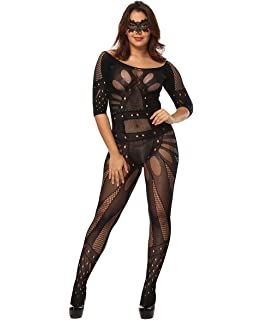 b94232c7064 Curbigals Women Sexy Lingerie Plus Size Crotchless Bodystocking Fishnet  Bodysuit