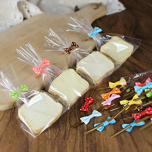 Warm party 200 Pcs Assorted Colors Bow Tie Twist Ties for Cake Pops Sealing Cello Bags Lollipop Gifts Packgae