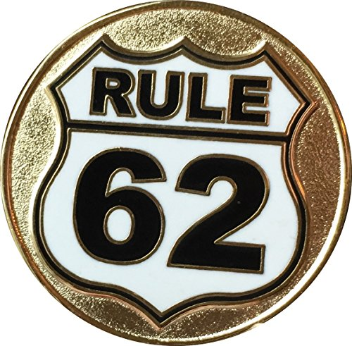 (Rule 62 Don't Take Yourself Too Damn Serious Gold Plated Color Black White Road Sign AA Medallion Sobriety Chip )