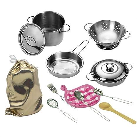 Winni43Julian Set Cucina Giocattolo in Metallo da 12 Pezzi ...