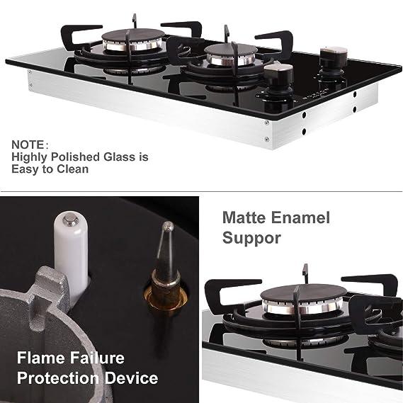 NOXTON Construido-en 30cm 2 Quemador Encimera De Gas Domino Negro Cocina de Vidrio con Kit de GLP & FPD [Clase de Energía A +]