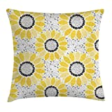 Yellow Decor Throw Pillow Cushion Cover by Ambesonne, Colorful Image of Sun Flower with Chic Motifs and Patterns Summer Nature Art, Decorative Square Accent Pillow Case, 16 X 16 Inches, Yellow Gray