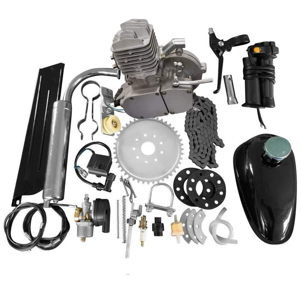 80CC 26'' 28'' Bike Bicycle Motorized 2 Stroke Cycle Petrol Gas Engine Kit Set(Silver) by MOTOOS