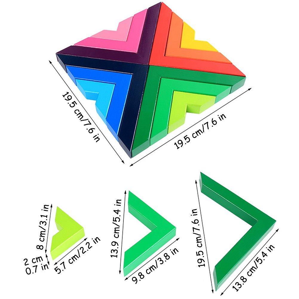 Lewo Wooden Rainbow Stacking Game Stacker Geometry Building Blocks Creative Nesting Educational Toys Kids Toddlers Muwanzi Rainbow Stacking Game