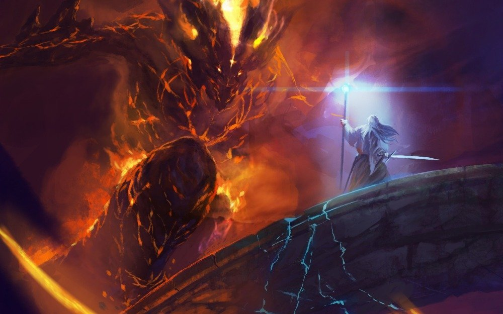 Image result for gandalf and the balrog art